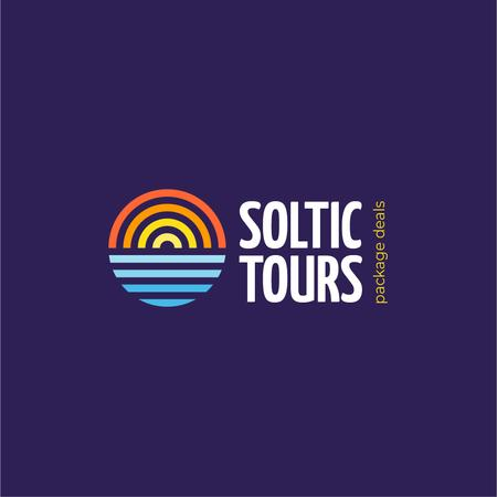 Plantilla de diseño de Travel Tours Offer with Sun Setting in Sea Logo