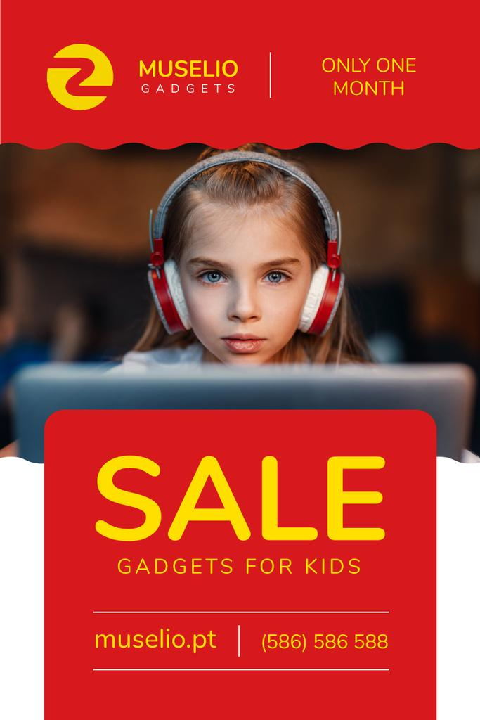 Gadgets Sale Girl in Headphones in Red — Maak een ontwerp