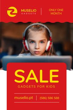 Gadgets Sale Girl in Headphones in Red