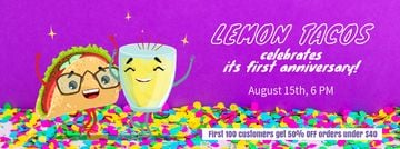 Celebration Invitation Dancing Taco and Lemonade