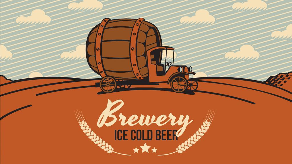 Brewery Ad Car Delivering Large Barrel — Maak een ontwerp