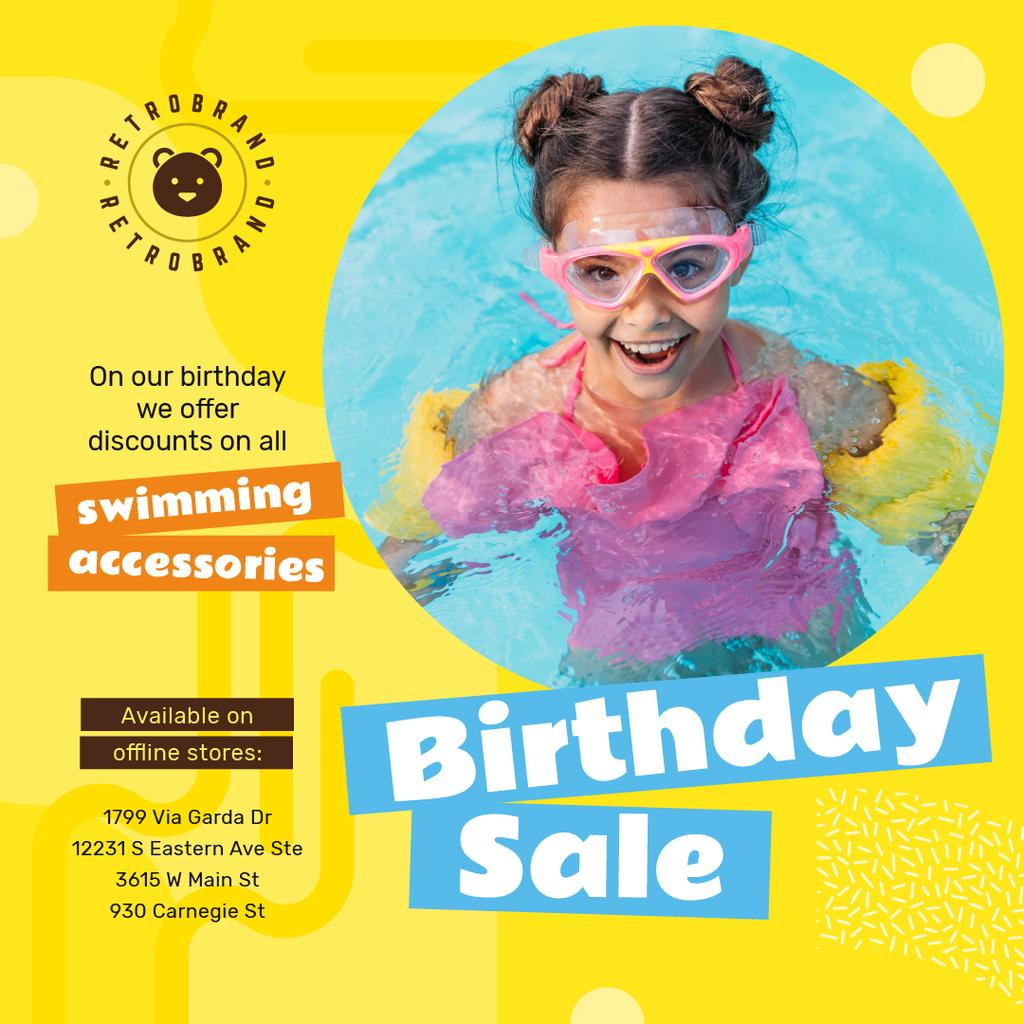 Birthday Sale with Girl in Pool — Modelo de projeto