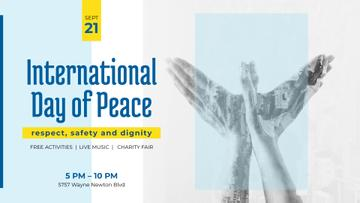 International Day of Peace Bird Symbol on Blue | Facebook Event Cover Template