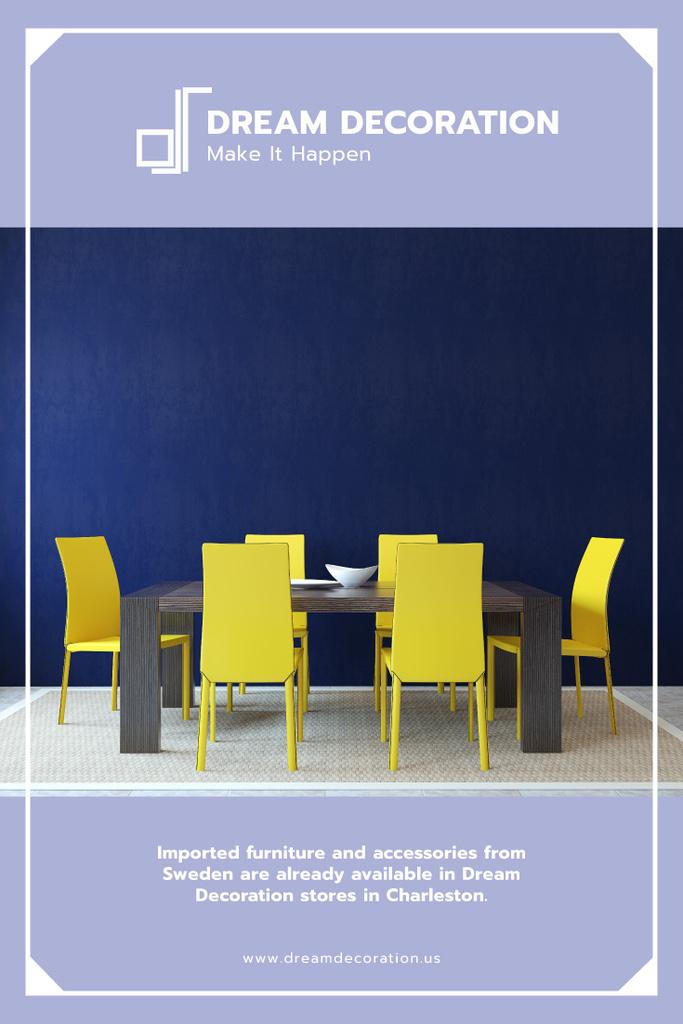 Design Studio Ad Kitchen Table in Yellow and Blue | Pinterest Template — Crear un diseño