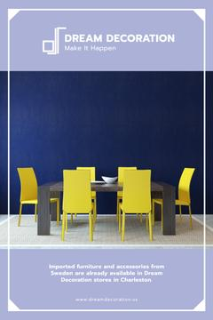 Design Studio Ad with Kitchen Table in Yellow and Blue
