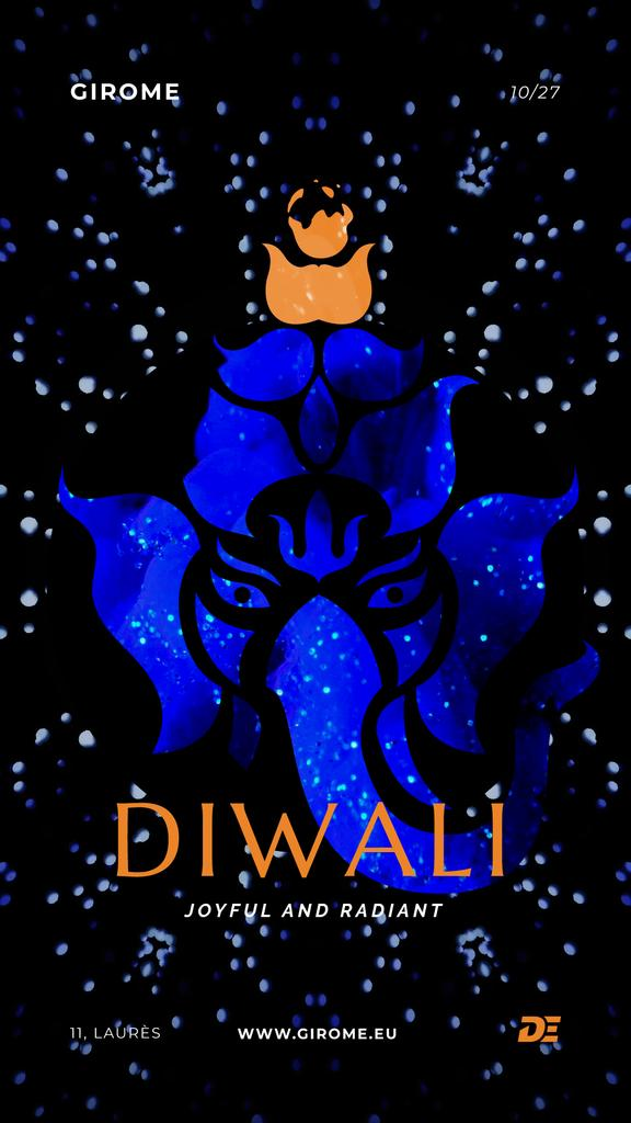 Happy Diwali Greeting with Elephant in Blue — ein Design erstellen