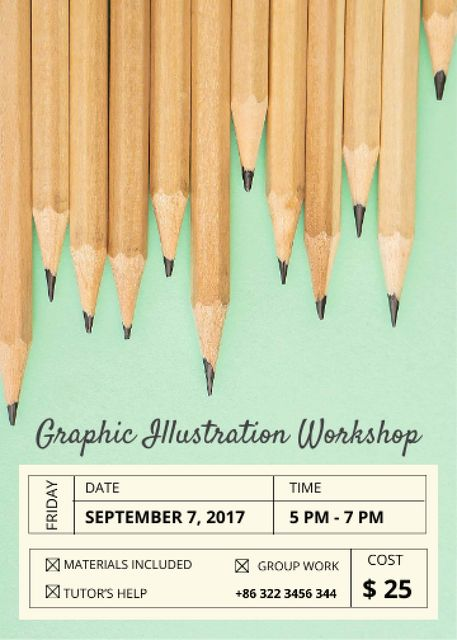 Illustration Workshop Graphite Pencils on Blue Flayer Design Template