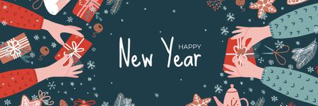 Template di design People sharing New Year gifts Email header