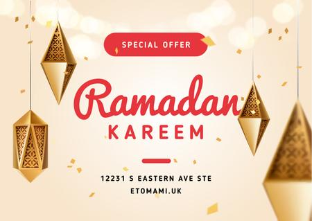Modèle de visuel Ramadan Kareem Offer with Lanterns - Postcard