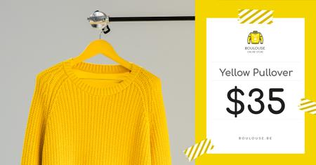 Clothes Store Offer Knitted Sweater in Yellow Facebook ADデザインテンプレート