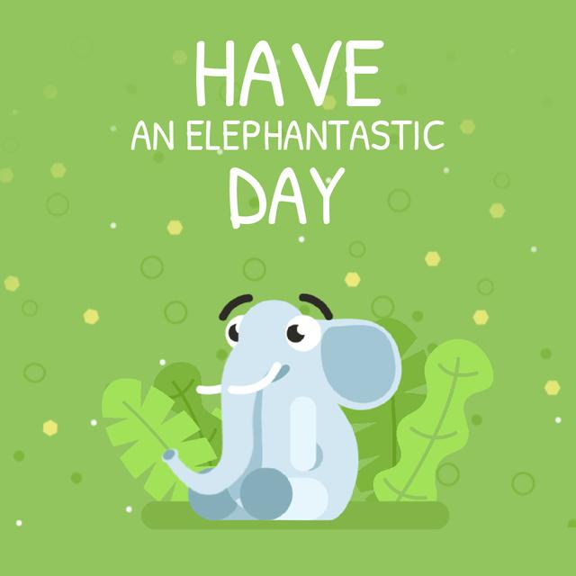 Plantilla de diseño de Elephant Blowing Rainbow Animated Post