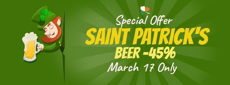Plantilla de diseño de Saint Patrick's leprechaun with beer Facebook Video cover