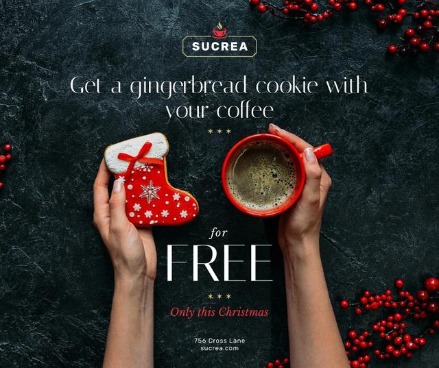 Ontwerpsjabloon van Facebook van Christmas Offer Coffee Cup and Gingerbread