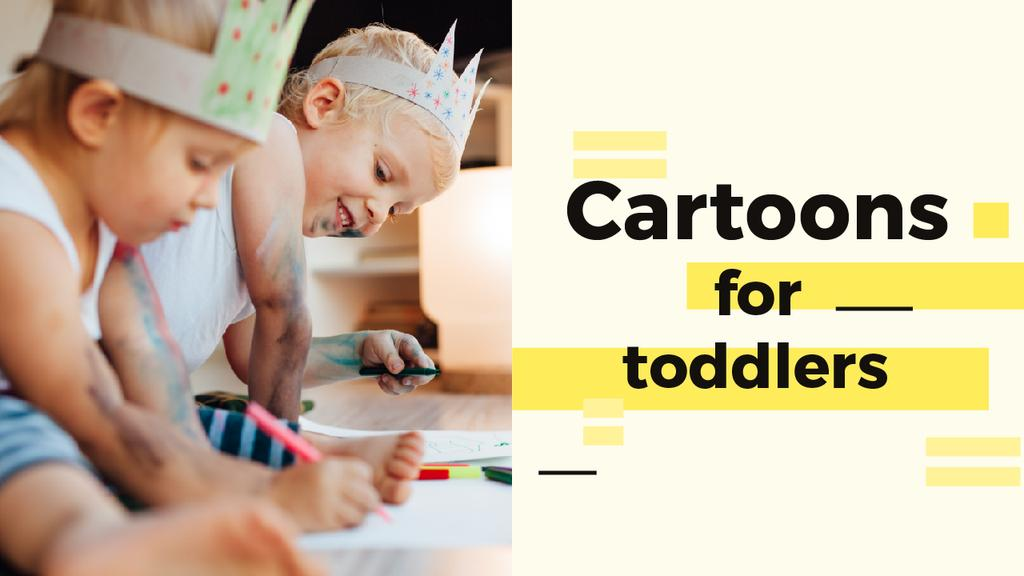 Happy Kids Drawing in Yellow | Youtube Thumbnail Template — Создать дизайн