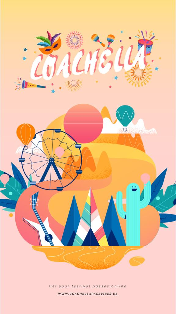 Coachella Invitation Festival Attributes | Vertical Video Template — Maak een ontwerp