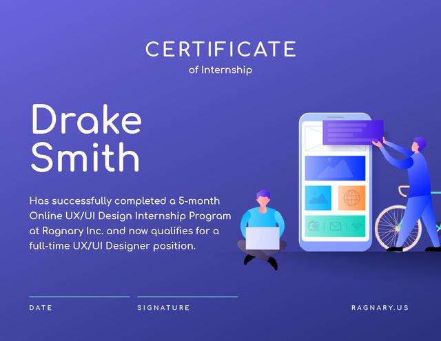 Online design School Internship in Blue Certificate Design Template