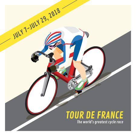 Plantilla de diseño de Tour de France Cyclist on road Instagram AD