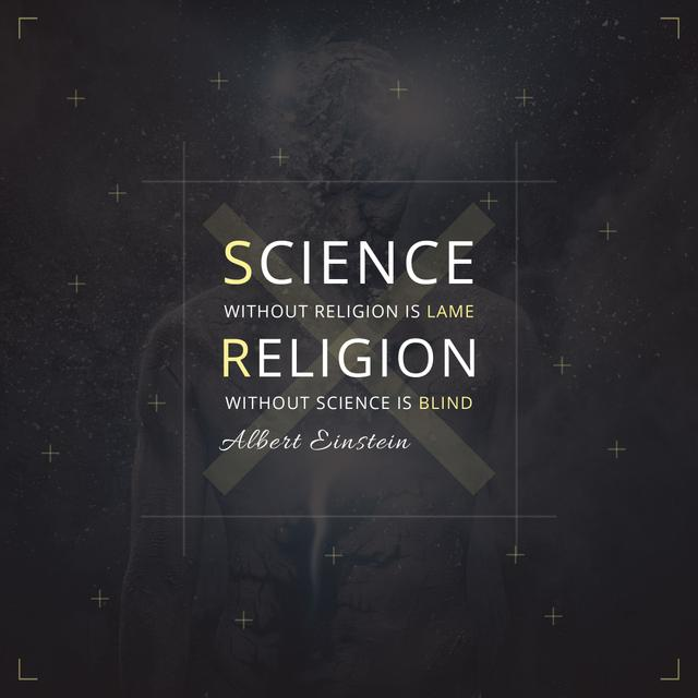 Plantilla de diseño de Citation about science and religion Instagram