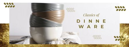 Dinnerware Ad with Stylish Bowls on Table Facebook cover Tasarım Şablonu