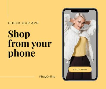 Online Shopping ad with Stylish Woman on screen