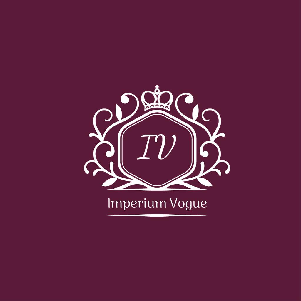 Vintage Decorative Logo in Purple — Modelo de projeto