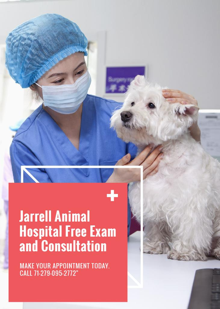 Vet Clinic Ad Doctor Holding Dog —デザインを作成する