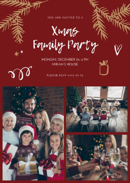 Plantilla de diseño de Christmas Party Family Having Dinner Invitation