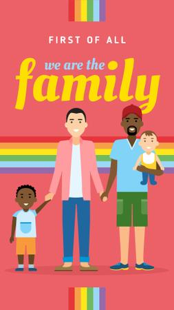 Designvorlage LGBT parents with children für Instagram Story