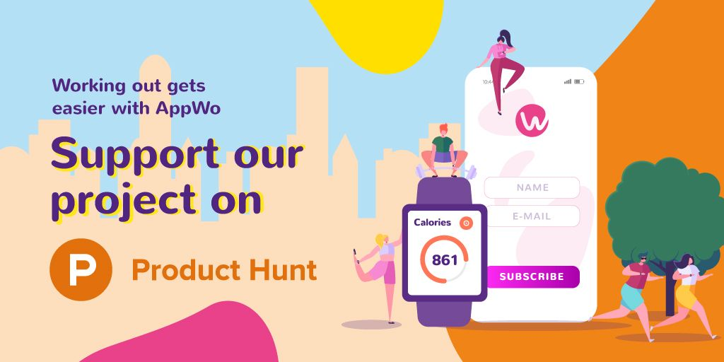 Plantilla de diseño de Product Hunt Promotion with Fitness App Interface on Gadgets Twitter