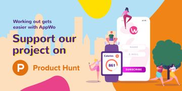 Product Hunt Promotion with Fitness App Interface on Gadgets