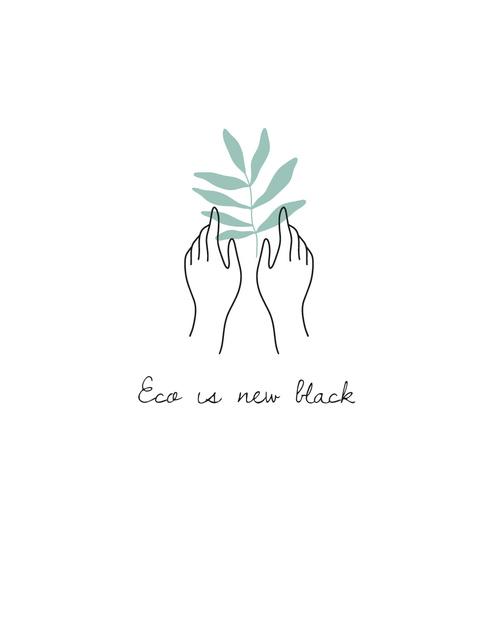 Ontwerpsjabloon van T-Shirt van Eco Concept with Hands touching Plant