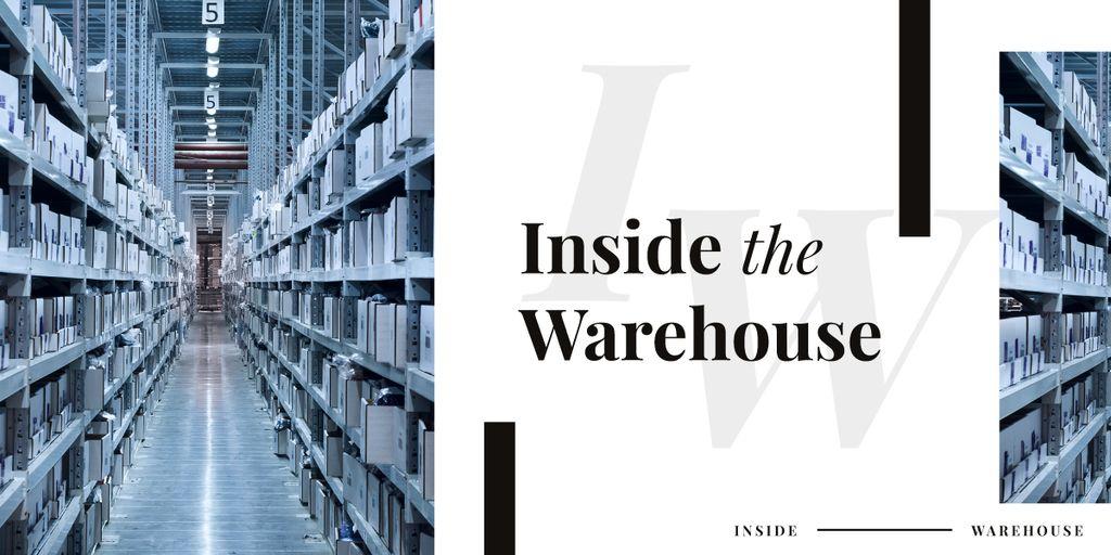 Shelves in warehouse interior — Modelo de projeto