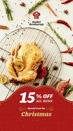 Template di design Christmas Dinner Invitation Whole Roasted Turkey Instagram Story