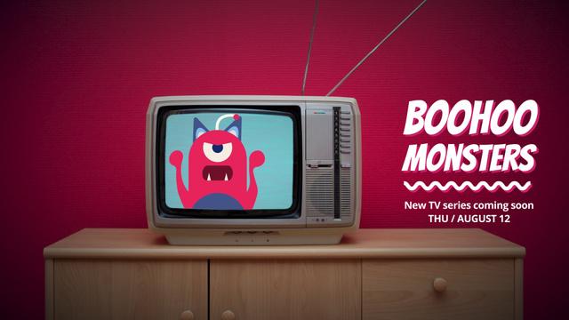 Vintage Tv with cartoon monster Full HD video Modelo de Design