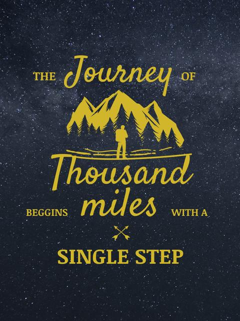 Journey Inspiration Traveler in Mountains Icon Poster US Design Template