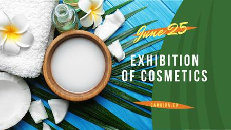 Ontwerpsjabloon van FB event cover van Exhibition of Cosmetics Ad with green leaves and Flower