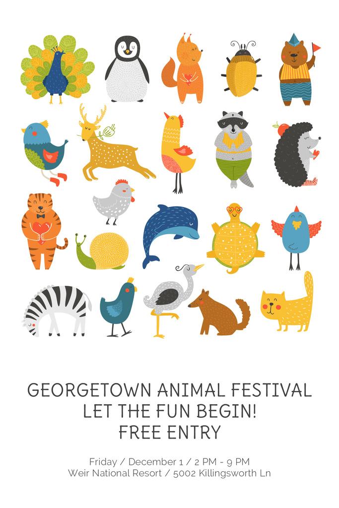 Animal Festival Announcement with Animals Icon — Modelo de projeto
