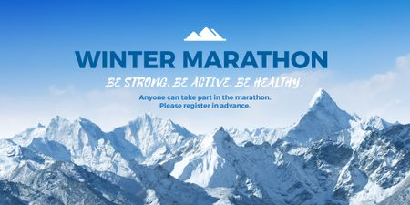 Winter Marathon Announcement with Snowy Mountains Image Design Template