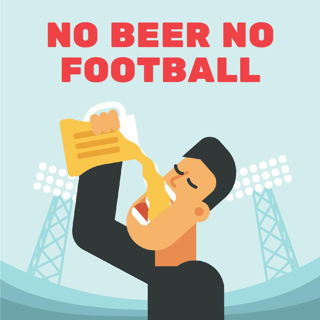 Man Drinking Beer at Football Stadium — Modelo de projeto