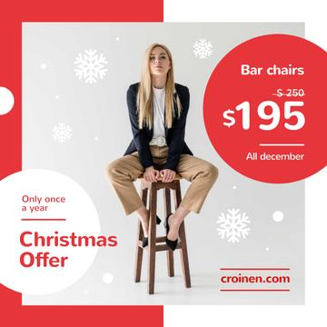 Christmas Offer Fashionable Woman Sitting on Stool