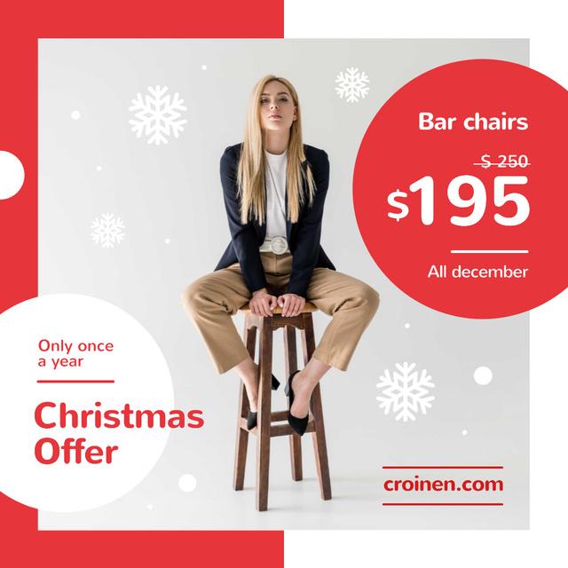Christmas Offer Fashionable Woman Sitting on Stool Instagramデザインテンプレート