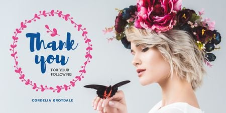 Blog Promotion with Woman in Flowers Wreath Twitter Modelo de Design