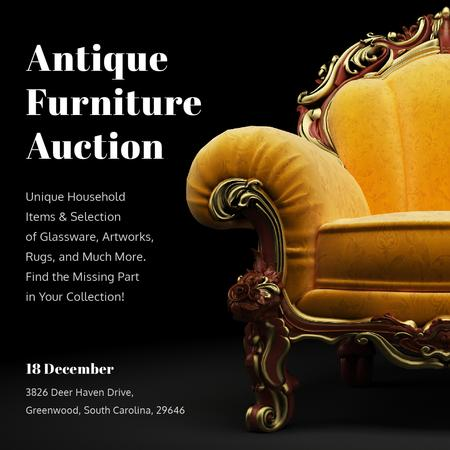 Ontwerpsjabloon van Instagram AD van Antique Furniture Auction Luxury Yellow Armchair