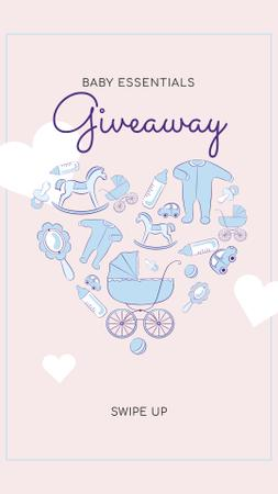 Ontwerpsjabloon van Instagram Story van Kids Stuff Icons for giveaway