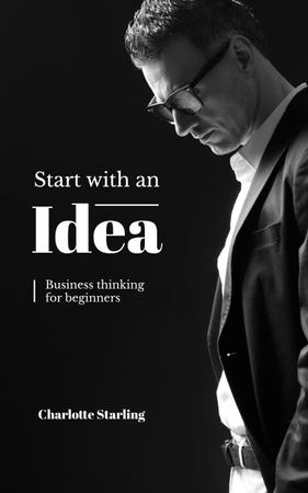 Confident Businessman Thinking of Idea Book Coverデザインテンプレート