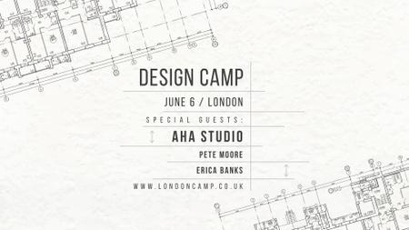 Design camp announcement on blueprint FB event cover Modelo de Design