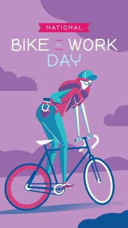 Template di design Girl riding bicycle on Bike to Work Day Instagram Story