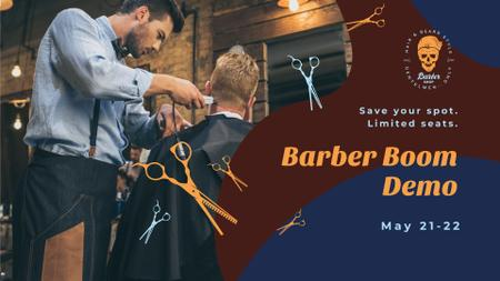 Plantilla de diseño de Client at professional barbershop FB event cover