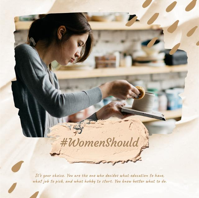 Designvorlage Woman working in Pottery für Animated Post