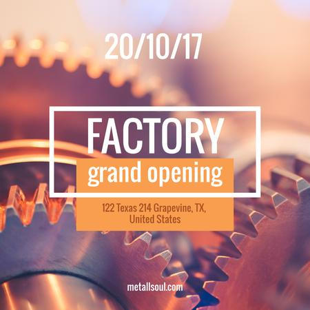 Factory Opening Announcement Mechanism Cogwheels Instagram AD Modelo de Design
